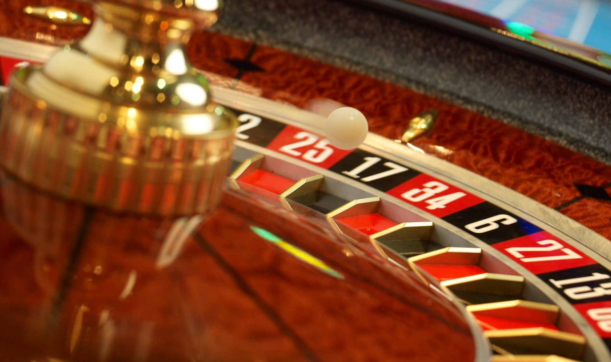 Roulette table with the white ball bouncing